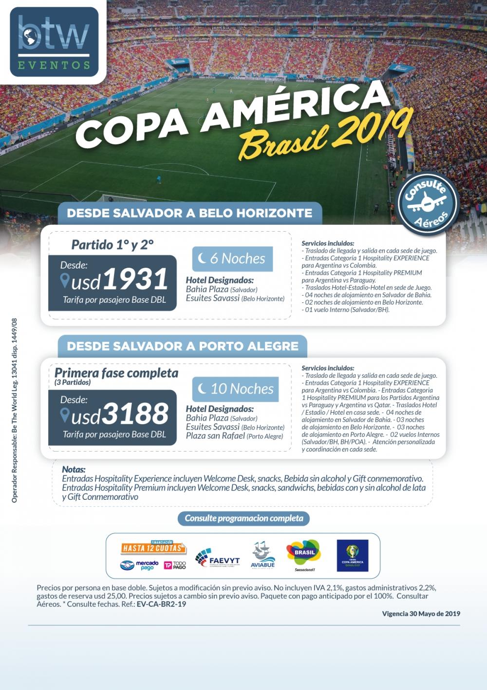Copa América - Programa Primera Fase 2 o 3 Partidos