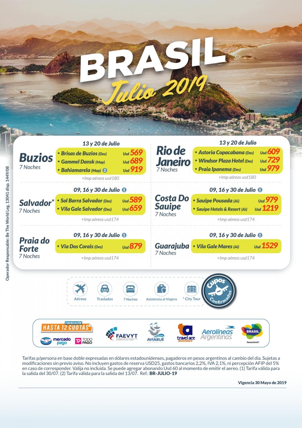 BRASIL - Julio 2019 - Cupos Confirmados