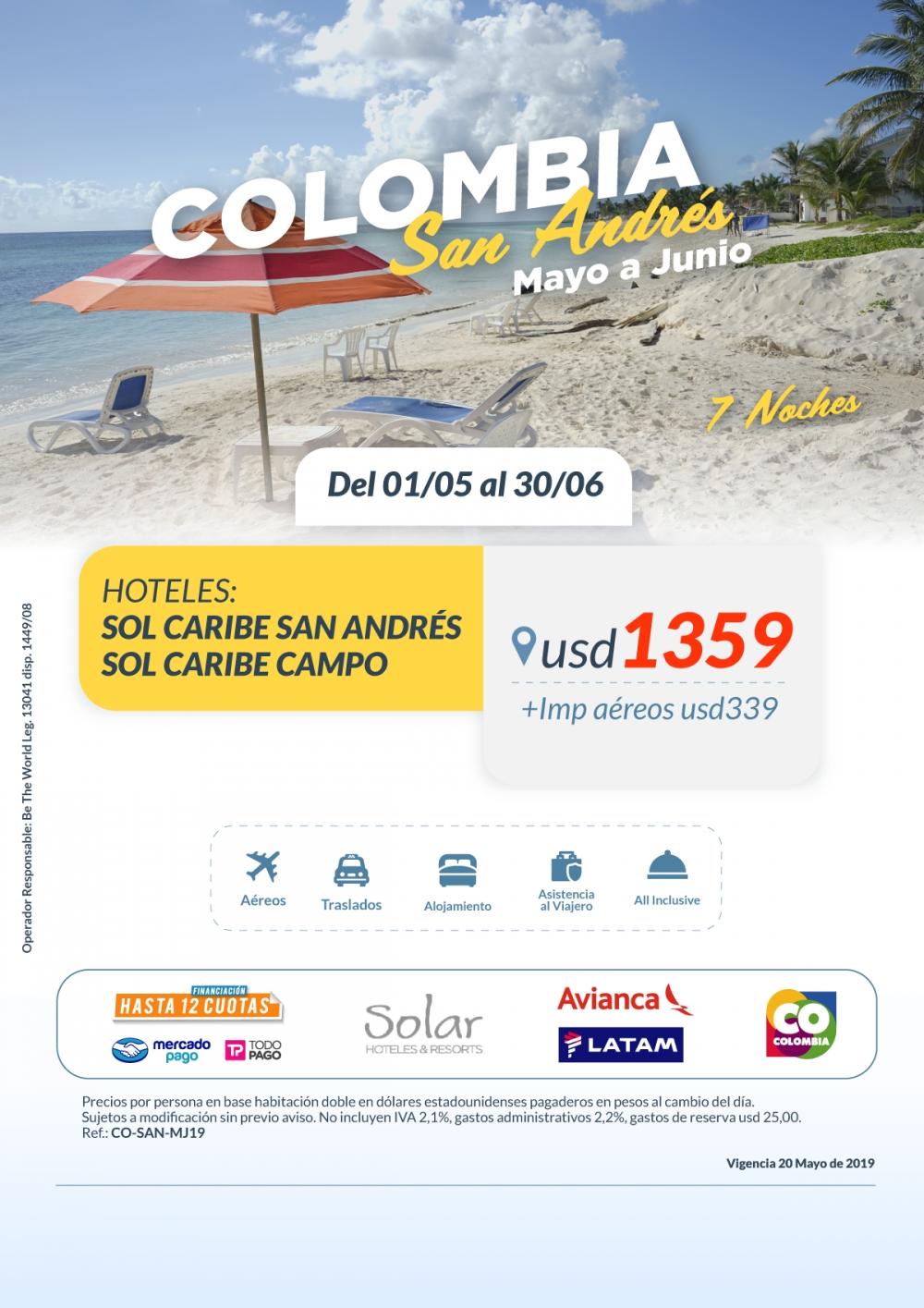 COLOMBIA - San Andres con cadena Solar - Marzo a Junio