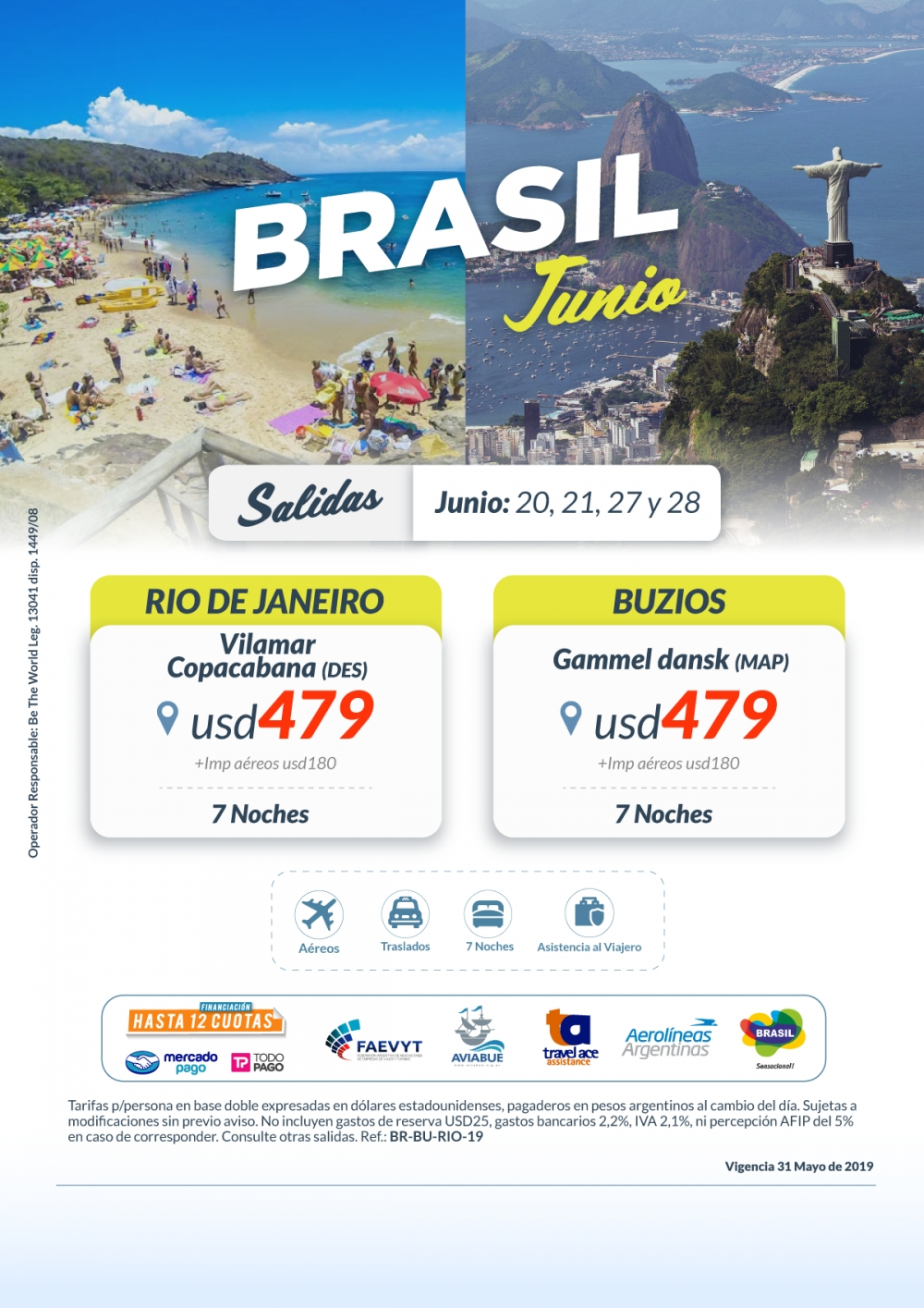 BRASIL - Buzios - Rio de Janeiro - Salidas Junio