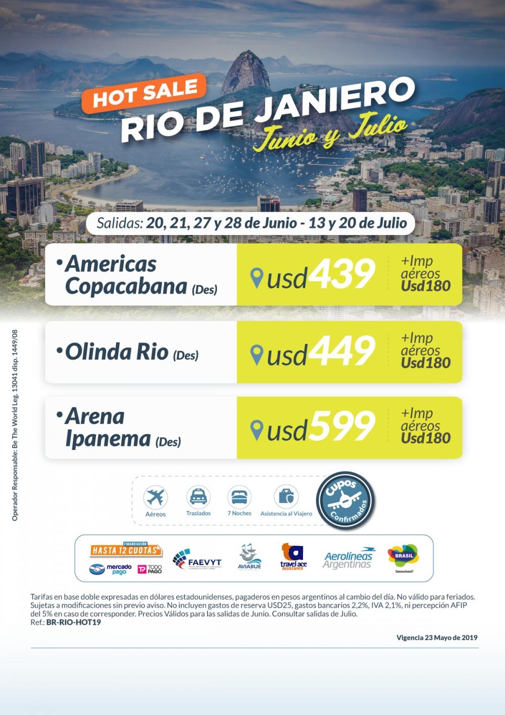 HOT RIO DE JANEIRO - Salidas Junio y Julio