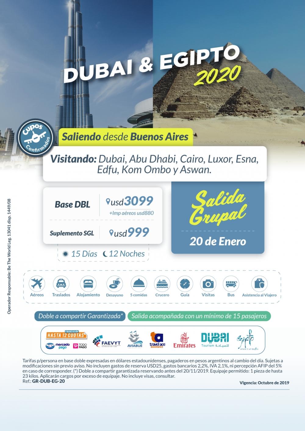 DUBAI Y EGIPTO - Salida Grupal - 20 de Enero del 2020