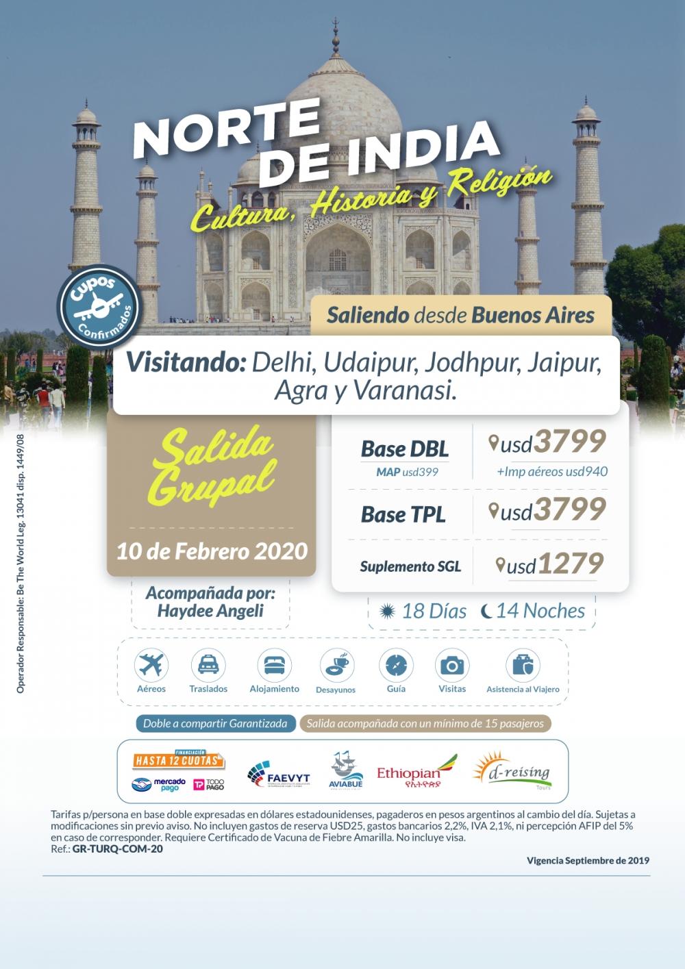 NORTE DE INDIA - Salida Grupal - 10 de Febrero del 2020