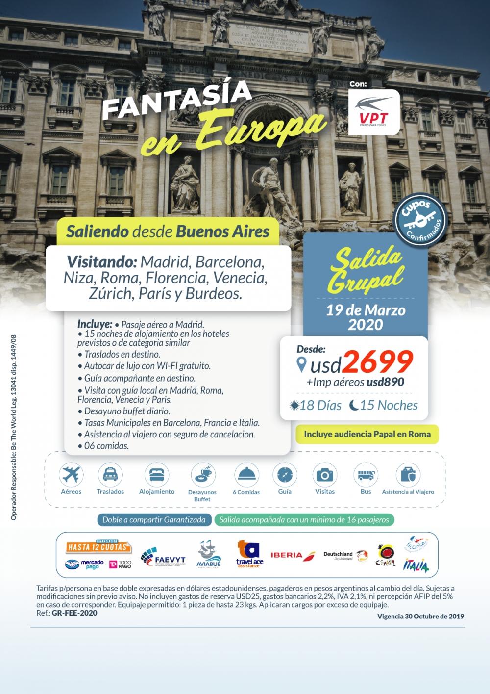 FANTASIA EN EUROPA - Salida Grupal - 19 de Marzo del 2020