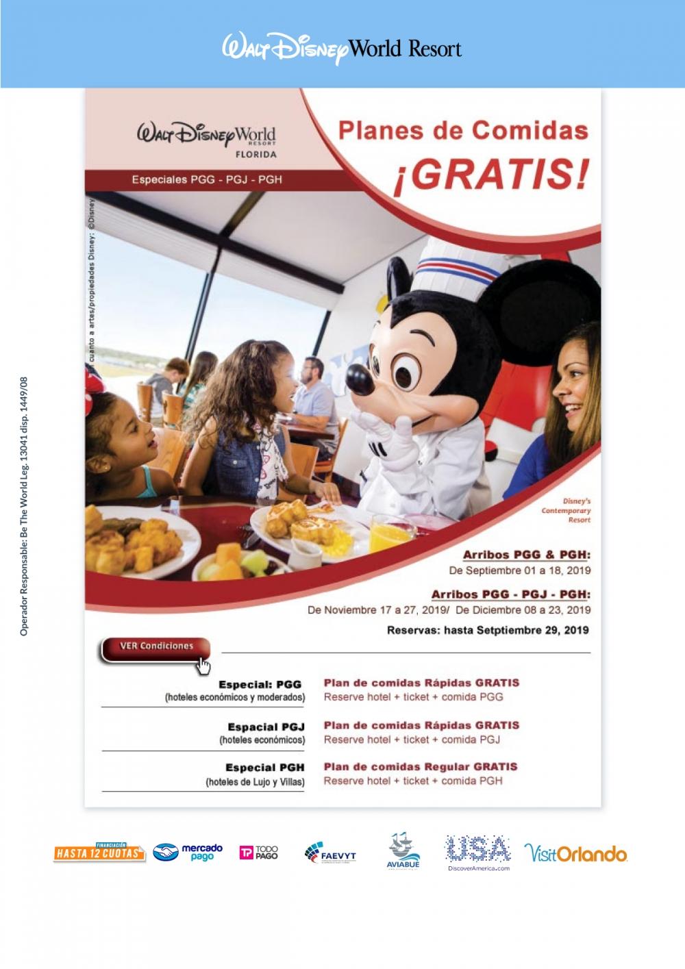 Walt Disney World - Planes de comidas Gratis